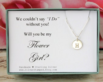 Will you be my Flower girl invite 925 sterling silver initial necklace personalized gift for Flower Girl jewelry Bridesmaids' gifts