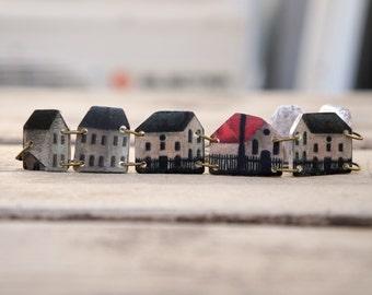 Little houses bracelet, Architecture bracelet, Home bracelet, Architecture jewelry, Art bracelet, Cottage bracelet, Little house, Romantic