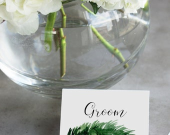 Woodland Place Cards - Printable Template, Digital File with Greenery / Watercolor Spruce Accent for Weddings, Showers + All Events