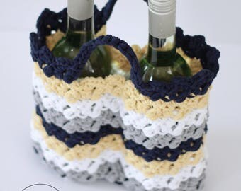 Crochet Pattern, Wine socks, crochet wine bag, crochet wine tote, wine carrier, hostess gift, housewarming gift, wine cozy, LILLY WINE TOTE