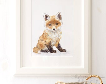 Fox Nursery Print, Giclee, Woodland Animal Print , Fox Print, Fox Nursery Art, Fox Watercolor, Nursery Wall Art