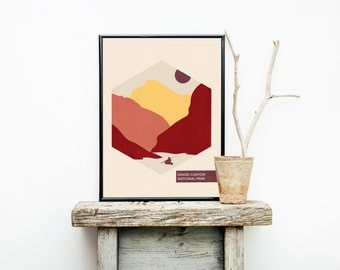National Park Poster - Hiking Travel Poster Vintage - Wedding Gift Ideas - Grand Canyon - Minimalist Poster - Canyon Wall Art