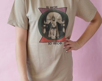 As Above So Below, The Occult,  T Shirt, Vintage T Shirt, Women's Vintage tops and Tees, Retro 70s, Brown, Alchemy, Vintage Photography