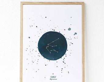 Constelaciones pintadas con acuarelas:  Capricornio - Acuario - Piscis - Aries