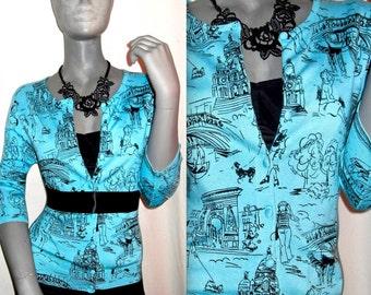 Sky Blue/Black Paris Print Long Sleeve Button Down Soft/Stretch Cardigan Sweater L