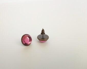 Stud earrings / Glass Stud earrings / Light amethyst glass stud earrings / Round stud earrings / 12mm stud earrings