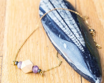 Essential Oil Diffuser Necklace with choice of Essential Oil Blend // Wood, Gemstone & Pyrite Bar on Gold Chain