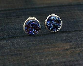 Druzy Stud Earrings, Druzy Earrings, Druzy Studs, Sterling Silver Druzy Studs, Druzy Post Earrings, Bridesmaid Earrings, Bridesmaid Gift,