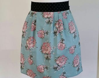Women's half apron, floral apron with polka dot ties, waist apron, lined cotton apron, kitchen apron, woman or girls apron