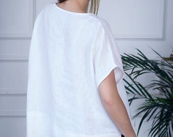 Oversized linen top, white linen shirt, linen top for women, linen tunic top
