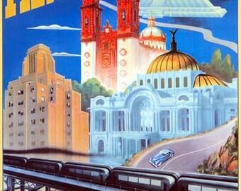 Vintage Mexico City Tourism Poster  A3 Print