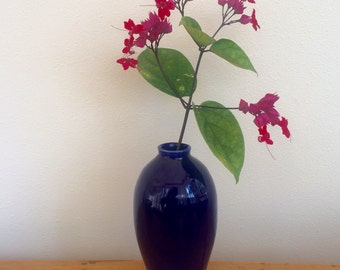 Bud Vase, Small Clay Vase, Handmade Vase, Deep Blue Glaze