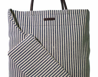 French Blue Striped Shopper; Tote Bag; Italian Linen; Braided Brown Leather Handles; Key Ring Zipper Pocket
