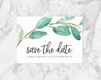 Eucalyptus Save The Date, Botanical Save The Date / Printable PDF