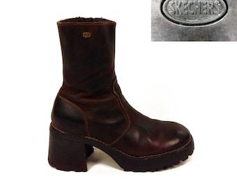 Vintage 90s Skechers Platform Brown Leather Boots With Chunky Heel // 1990s // zip-up // block heel // ankle boot // zipper // platforms