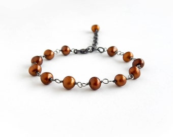 Chocolate Pearl Bracelet: Blackened Sterling Silver, 6mm Freshwater Pearls, bronze, cooper, brown potato pearl, adjustable 6.5-8 inch length