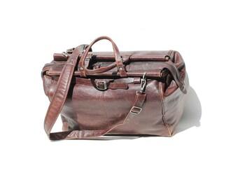 Vintage Large Sienna Brown Leather Weekender Holdall Bag