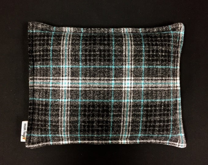 Flannel Corn Heating Pad, Corn Bag, Microwavable Heat Pack, Hot Cold Therapy Pillow, Relaxation Gift, Heated Bags, Black Gray Teal Plaid