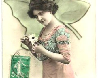 Vintage real photo - Nice WOMAN, Art Deco FASHION clothes, Shamrock- French colored postcard written- 1914- warm Happy New Year, greetings-