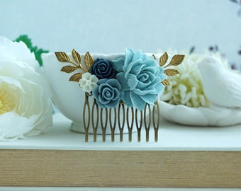 Powder Blue Rose Comb, Light Blue Comb, Unique Flower Comb. Blue and Gold Comb Something Blue, Blue Vintage Inspired Wedding Shades of Blue