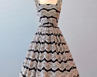 Vintage 1950s Party Dress...PAUL SACHS ORIGINAL Black and White Lace Party Dress