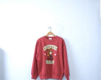 Vintage 90's cute sweatshirt, bunny sweatshirt, red sweatshirt, Country Friends, size large