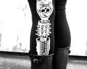 Ftw leggings. black leggings. high waisted tights. printed tights. biker gang. punk rock. street wear. roller derby gear. derby leggings.