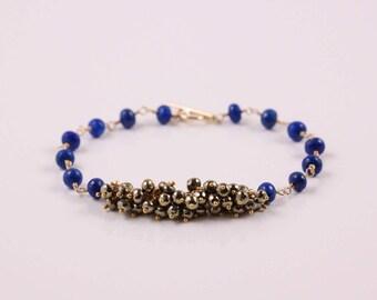 Lapis Lazuli Bracelet, Pyrite Bracelet, Gemstone Cluster, Royal Blue and Bronze, 14k Gold Filled, Lapis Bracelet