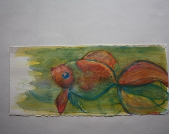 Stylized Red and White Fantail Goldfish original watercolor painting