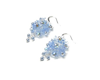 Blue Flower Cluster Swarovski Crystal Silver Earrings Women's Dainty Delicate Blue Pearl Bridal Jewelry Light Sapphire AB2X Gift For Women