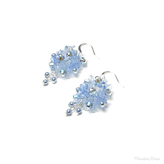 Forget Me Not Flower Cluster Swarovski Crystal Silver Earrings Women's Dainty Spring Bridal Jewelry Gift Tiny Baby Blue Pearl Light Sapphire