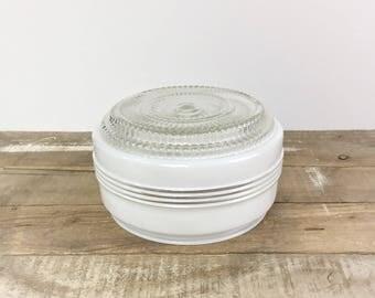 "Art Deco Ceiling Light Shade Globe Rosette Milk Glass Clear 1930's Vintage 5 3/4"" Fitter School House Geometric Textured Glass Kitchen Bath"