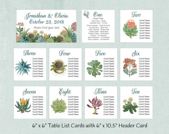 Wedding Seating Charts, Succulent Table Seating Assignment Cards, Seating Information, Guest Seating Charts, Wedding Table List, S101