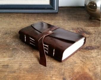 Leather Journal, Dark Brown Hand-Bound 3 x 4.5 Journal by The Orange Windmill on Etsy 1813