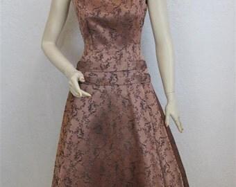 "On Sale! 1950's ""Kahn"" Satin Copper / Mauve Dress With Black Floral Brocade Design - 24 Inch Waist"