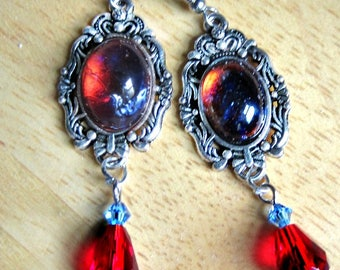 Dragons Breath Opal Earrings, Dangle Earrings, Blue Earrings, Red Earrings, Made to Order
