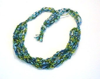 Aqua and Lime Ladder Yarn Necklace, Handmade Fiber Necklace, Crochet Choker, Vegan Jewelry, Crocheted Ribbon Necklace, Ready to Ship
