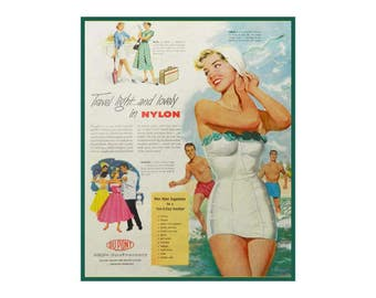 Swimmer Girl Beach Art - Magazine Ad For Bedroom Decor - DuPont 150th Anniversary