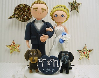 Cute couple with 2 dogs custom wedding cake topper