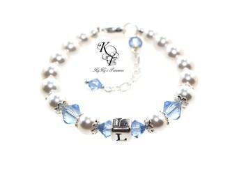 Baby Birthstone Bracelet Baby Bracelet Baby Jewelry Pearl Bracelet Initial Bracelet Baby Girl Jewelry Baby Shower Gift New Baby Keepsake