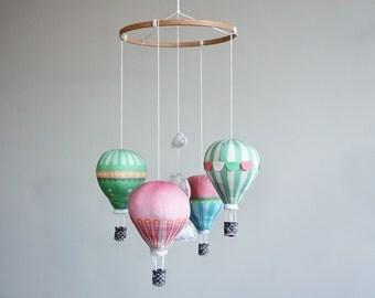 DIY baby mobile kit hot air balloon - modern nursery decor, circus, pink, mint