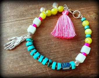 Fortune teller, palmistry hand bracelet, hot pink tassel bracelet, turquoise boho bracelet, hippy jewelry, bell bracelet, summer fashion