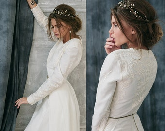 ALTHAEA / wedding dress incredibly beautiful unusual 100% silk fabric with embroidery long sleeves wedding gown ivory boho embroidery dress