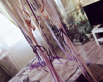 Queen Size Bed Canopy - Gypsy Bedroom Decor - Bohemian Bed Crown - Dreamcatcher Canopy - Bed Tent - Boho Bedding - Girls Bed Laces Canopy
