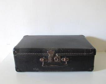 Vintage Old French black cardboard suitcase • 1930s