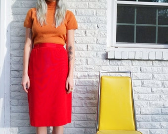Cadmium Red Silk Pencil Skirt