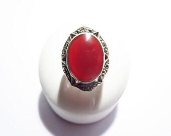 Large Vintage Sterling Carnelian Ring Size 7