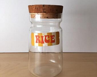 Vintage JAJ Pyrex Storage Jar with Cork Lid and Rice Sticker