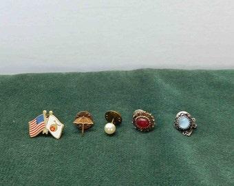 Vintage 5 Lot Tie Tack, Gold Tone Color,With Stones,Umbrella,Flags