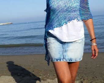 Turquoise knit poncho for women, cotton dress top, beach cover up,aqua clothing, women's poncho, natural fibers